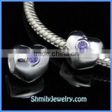 Wholesale Purpel CZ Sterling Silver European Heart Beads BCZ64A