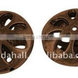 Alloy Beads, Lead Free & Nickel Free, Flat Round, Red Copper Color, about 17x8mm, hole: 1mm(PALLOY-GK010-R-FF)