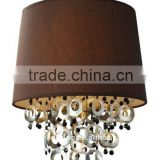 Decorative brown bedroom pendant lamp with drops of shells