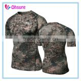 sublimation printing polyester/spandex running shirt compression top custom compression wear