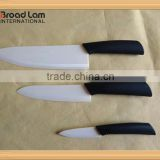 "Ultra Sharp 3pcs Ceramic Chefs Knife Set White Blade 3""+6""+8"" Kitchen knives in Window Gift Box"