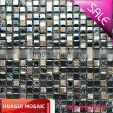 Home decor / living room glass mosaic dark color ice crack glass mix ceramic mosaic tile