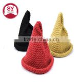 female warm knitted winter hats tip pointed coarse funny wool curling custom design winter hats