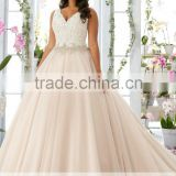 AR-86 Sleeveless Custom Made Vestido De Casamento Tank Gold Crystal Bling Tulle Plus Size Wedding Dress Ball Gown
