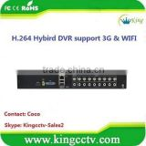 Effio hybrid 1U security digital dvr HK-H5016F 960h 16ch standalone cctv h.264 3g wifi dvr full D1 realtime p2p dvr