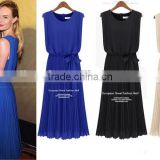 Summer Women New Work Wear Elegant Slim Royal Blue Sleeveless Back Zipper Belt Pleated Party Chiffon Long Dresses Plus Size