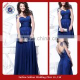 E0205 See Through Back Royal Blue Sweetheart Chiffon Long Beaded Evening Gown Dress