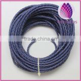 wholesale high quality blue color 3.0mm braided real leather cord for bracelet