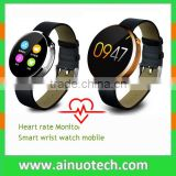 "leath strap 1.22"" IPS round screen bluetooth smart watch with heart rate monitor for lady DM360 D360 S360 for iphone android"