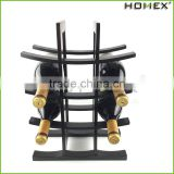 Bamboo standing wine rack rustic wine holder Homex BSCI/Factory