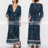 Gorgeous Boho Printed Rayon V Neck Maxi Dress Bohemian Ladies Western Dresses Names HSd5094