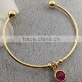 wholesale birthstone charms bangle open red stone birthstone bangle tiny bangle for birthday's gifts
