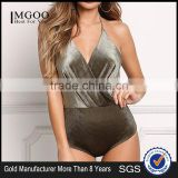 MGOO Fashion apparel Factory Custom Surplice Velvet Bodysuits Olive Corduroy Women Blouses Backless Lacing Up
