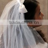 New design Fabric Graceful Perfect Tulle Veils/Elegant Muslim Wedding Veil With Appliqued Lacework Lace Bridal Veils
