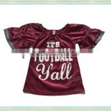 2017 wholesale girls jersey brown puff sleeve top boutique kids clothes summer football shirt
