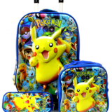 3D EVA Trolley School Backpack set,wheeled Rolling bag, three piece with lunch bag,pencil box