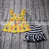 Yawoo chicken patterns back designs top match ruffle shorts kids fashion clothes wholesale baby clothes