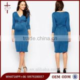 Wholesale Fashion Maternity Clothes 3/4 Sleeve Daily Wear Maternity Dress With Wrap Front