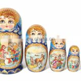 Christmas Style Wooden Nesting Dolls Russian Dolls For Sale Matryoshka Babushka Childs Wooden Shop Set 5 pc