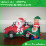 Inflatable Christmas Santa Claus in car, Christmas inflatable decorations, air blown Santa cartoon