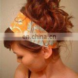 Orange flower design cotton elastic hair holder