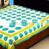Polka Print White Sea Green Cotton Bed Sheet Set