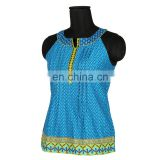 BLUE TANK TOP SHORT LENGTH COLLAGE WEAR LATEST DESIGN