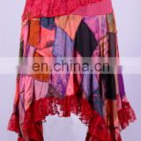 Vintage Net & Patchwork Colorful Boho Maxi Skirt HHCH 130 B