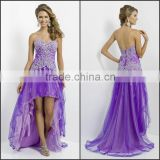 Beautiful Purple Prom Dress with Beading and Appliques High Quality 2015 Hot Sale Sweetheart and Sleeveless Charming Prom Dress