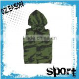 Custom high quality subliamted sleeveless pullover camo hoodie