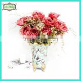 55cm 7 branches gold rose artificial flower wreath