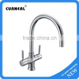 Modern Contemporary Swivel Spout Twin Lever Kitchen Sink Mixer Tap kitchen faucet with swivel spout NO.K012