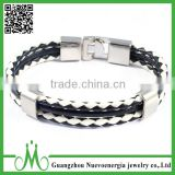Jewelry Black White Mens Wide Braided Leather Rope Bracelet Punk Rock Adjustable Alloy Clasp Cuff Bangle
