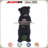 "15"" holding solar flashlight fiberglass bear sculpture, life size resin black bear statue"