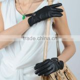 ladies leather gloves with metal D ring and strap closure