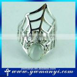Fashion design diamond opal decoration special white alloy spider ring R0184