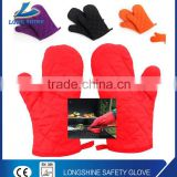 Heat Insulation anti-slip colorful cotton silicone oven mitts silicone BBQ grilling gloves