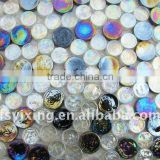 Black mix White Tumbled Beach Mosaic Tile Glossy & Iridescen for Glass Mosaic Spa Swimming Pool Bathroom Floor Decoration