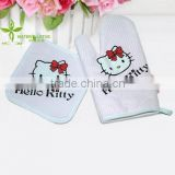 China supplier hello kitty cartoon cotton oven gloves or mitts plus cushion or pad kitchen set