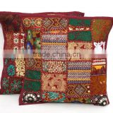 Patchwork Handmade Throw Pillow Cushion Cover Indian Embroidered Cushion Cover