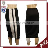 Black white stripe business lady tight fitted pencil skirt latest formal skirt