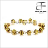 Gold Plated Noble Women's Bracelets Pumpkin Shaped Beads Chain Wristband Elegant Wedding Party Bride Gift
