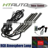 HTAUTO Latest Car 12V 30CM Flat RGB Led Strip by IR remote Sound Controll Car Internal Interior Atmosphere Light Led Rock Light                                                                                         Most Popular