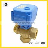 CWX-15 3 way electric actuator brass ball valve 1/4'' 1/2'' 3/4'' for water automatic control