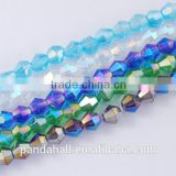 Wholesale Plated Crystal Glass Beads String, Bicone, 3x3mm(EGLA-S056-3mm-M)