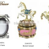 Fashion metal Horse photo frame with Musical Carousel and Trinklet Box Jewelry set