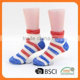 custom cotton red and navy blue stripe teen girls ankle asian boy socks