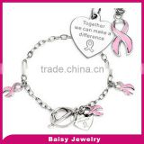 High quality custom Pink Enamel Filled Stainless Steel breast cancer awareness bracelets