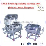 CXAS-3 type heat available stainless steel filter press, plate and frame filter press manufacturer
