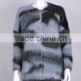 womens' round neck long sleeve cardigan coat with zip hairy winter knitted sweater print buy direct from china factory